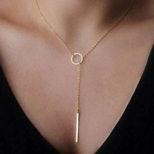 Lariat Bar Necklace (Gold)
